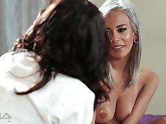 Big Boobs, Brunette, Cunnilingus, Lesbian, Orgasm