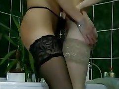 Cunnilingus, German, Lesbian, Small Tits, Stockings