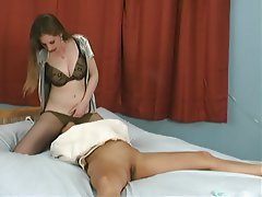 Lesbian tied up and face sitting