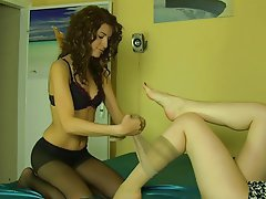 Foot Fetish, Lesbian, Stockings